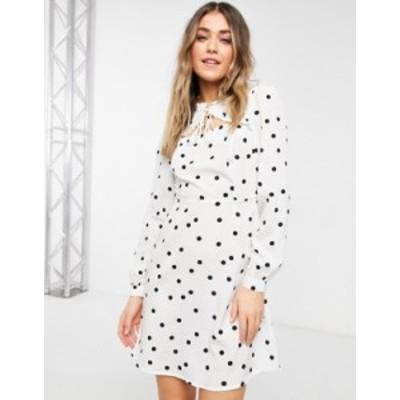 ニュールック レディース ワンピース トップス New Look tie neck ruffle detail mini dress in white polka dot White pattern