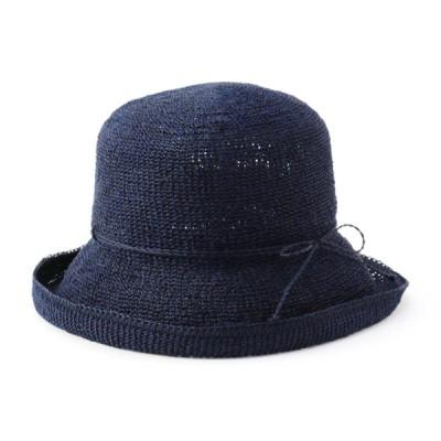 レディース 手洗いできる手編みセーラー帽子 ネイビー 57.5cm