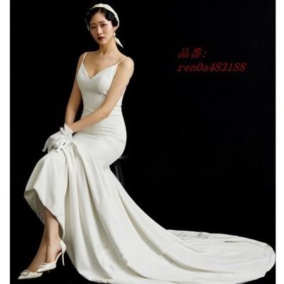 2020新入荷 ウェディングドレス セクシーV襟 露背 簡約 花嫁ロングドレス トレーンライン 二次会 挙式 エレガント 姫系 お呼ばれ 結婚式