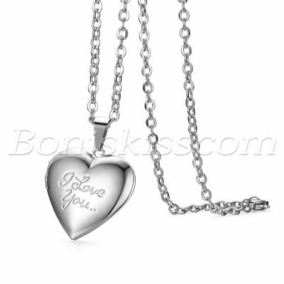 """ネックレス メンズ レディース  Silver Men Women """"Love You"""" Openable Photo Heart Pendant Chain Necklace Free Engraving"""
