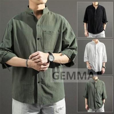 綿麻 tシャツ メンズ 7分袖 リネンTシャツ ハイネック メンズ トップス tシャツ 無地 おしゃれ 大きいサイズ 夏服 青年