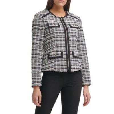 トミー ヒルフィガー レディース ジャケット・ブルゾン アウター Knit Tweed Front Zip Jewel Neck Blazer Black Multi