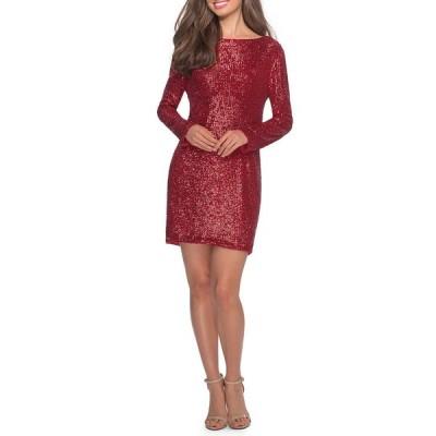 ラフェム レディース ワンピース トップス Sequin High-Neck Long-Sleeve T-Shirt Style Cocktail Dress