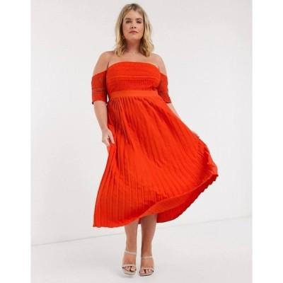 リトルミストレス レディース ワンピース トップス Little Mistress Plus pleat lace midaxi dress in orange