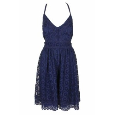 GUESS ゲス ファッション ドレス GUESS Navy Blue Sleeveless Cross Back Lace A-Line Dress 14
