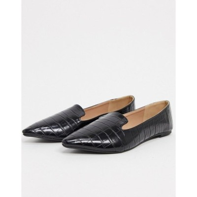 キューピッド レディース サンダル シューズ Qupid flat shoes in black croc Black croco