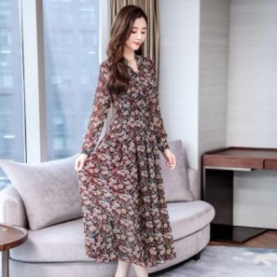 ワンピース 花柄 レトロ ロング マキシ丈 茶 ピンク 黄 青 2-3XL 大きいサイズ #2947