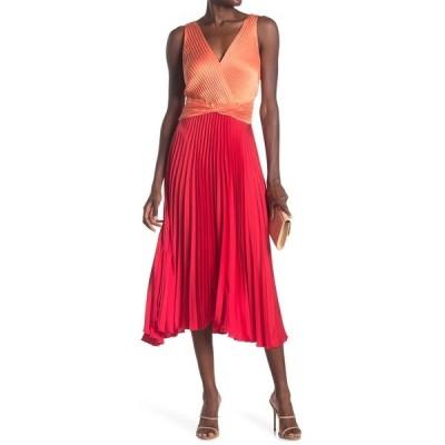 レイミー ブルック レディース ワンピース トップス Viviana Colorblock Pleated Midi Dress MANDARIN/BRIGHT RED