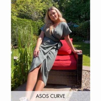エイソス ASOS Curve レディース ワンピース ラップドレス ミドル丈 ワンピース・ドレス ASOS DESIGN Curve linen wrap midi dress in kh