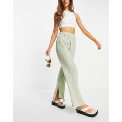マンゴ Mango レディース ボトムス・パンツ wide leg plisse trouser with split in sage グリーン
