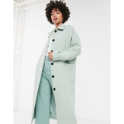 モンキ レディース コート アウター Monki oversized midi tailored coat in sage green