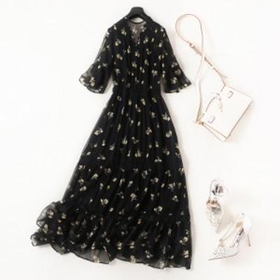 【XL~5XL】 大きいサイズ レディース 夏 ドレス スリムスカート 体型カバー 半袖 ゆったり ロング 3l 4l 5l
