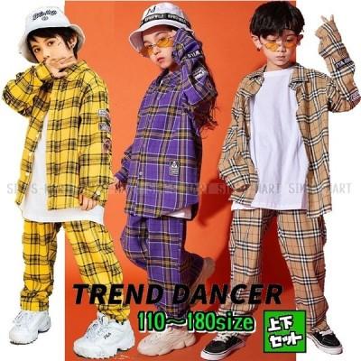 キッズダンス衣装 チェックシャツ チェックパンツ セットアップ HIPHOP ヒップホップ 韓国