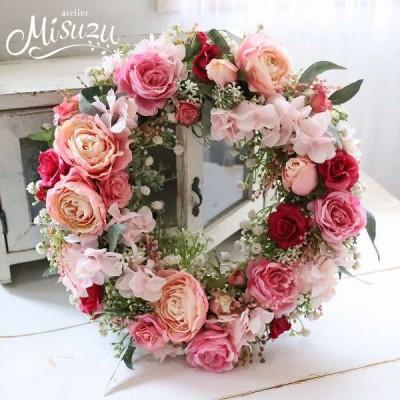 お花いっぱいリース 母の日 ピンクグラデ オールドローズ カスミソウ ギフト ボリューム