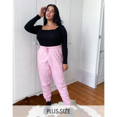 コリュージョン レディース カジュアルパンツ ボトムス COLLUSION Plus Exclusive frayed sweatpants in pink Pink