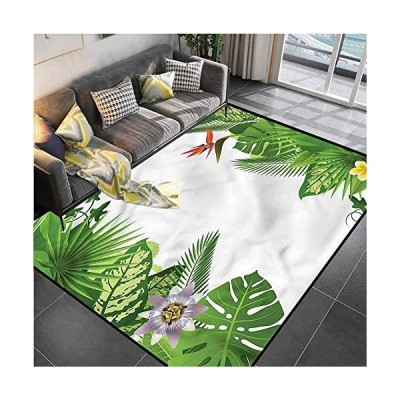 """Area Rugs Print Large Carpet Tropical,Lush Growth Rainforest Kitchen Rugs and mats for Living Dining Dorm Playing Room Bedroom 5'7""""x8'6""""並行輸入"""