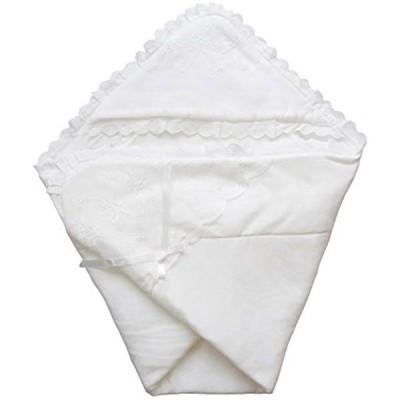 日本製 春秋素材 新生児のお宮参り退院時用おくるみ ベビーアフガン(ホワイト, 85x85センチ)