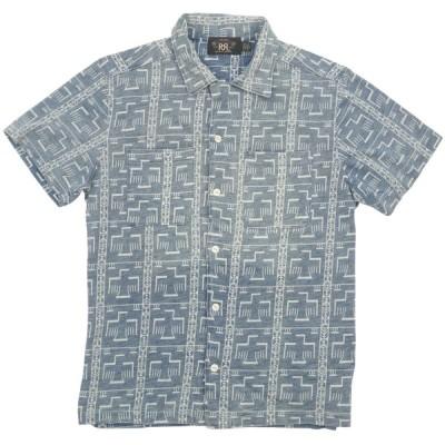 (ダブルアールエル) RRL 本藍染め インディゴ プリント ジャージー 半袖 シャツ ネイティブ柄 メンズ