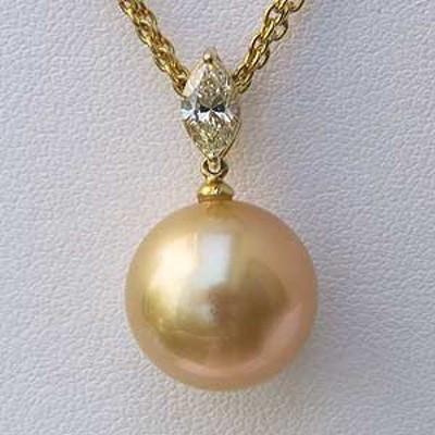 南洋白蝶真珠 K18 ペンダントネックレス ダイヤモンド パール 13.2mm ゴールド系 小豆チェーン40cmスライド調整付