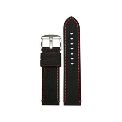 【新品・送料無料】26mm Panatimeブラック純正CrushedレザーGrain Watch Band withレッドStitching andサイディング26