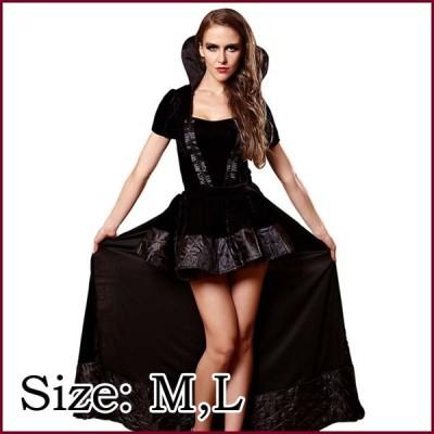ハロウィン 悪魔 デビル 魔女 小魔女 デビル コスチューム ハロウィン 女王 QUEEN クィーン ロングドレス 仮装 ダンス ステージ 黒 ブラック