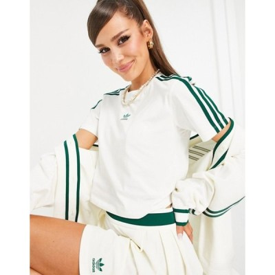 アディダス レディース シャツ トップス adidas Originals 'Tennis Luxe' logo cropped three stripe t-shirt in off white