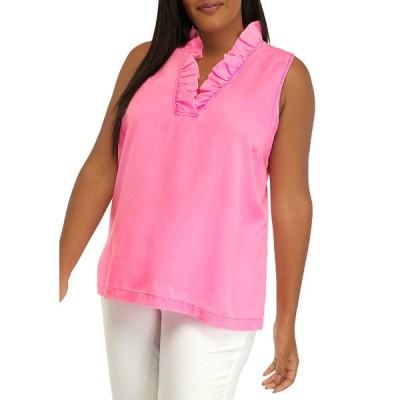 クラウン&アイビー カットソー トップス レディース Plus Size Sleeveless Ruffle Neck Top Neon Pink