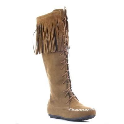 ブーツ シューズ 靴 ケープロビン New レディース Moccasin Lace Up Fリングe ニーハイ ブーツ CARMELA-GX-3 CAMEL