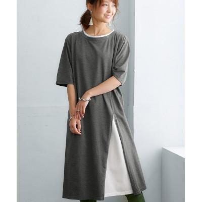 【一枚で完成!綿100%】レイヤード脇スリットワンピース (ワンピース)Dress
