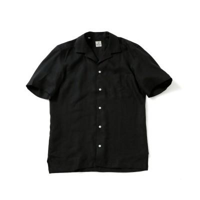 シャツ ブラウス GIANGI/オープンカラーソリッドリネンショートスリーブシャツ