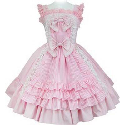 送料無料/[APPAREL]/マキシマム/アラモードなメイドさんのストライプキャンディージャンパースカート ピンク×ピンクストライプ (F) ゴス
