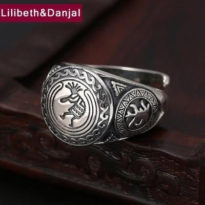 メンズアクセサリー 指輪 エスニック インディアンオープニングリング 調整可能 高純度 925 純銀製ジュエリー ファインジュエリー R06