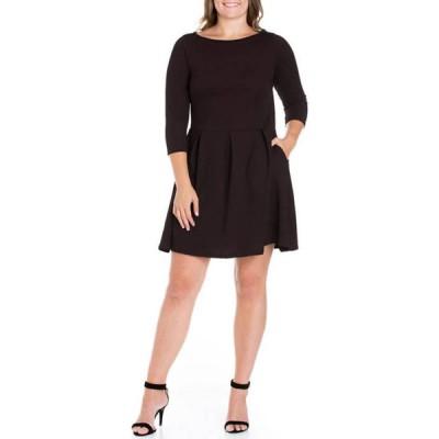 24セブンコンフォート レディース ワンピース トップス Plus Size Perfect Fit and Flare Pocket Dress
