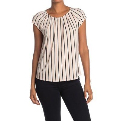 アドリアナ パペル レディース Tシャツ トップス Striped Cap Sleeve Top BLHMXDSTRP