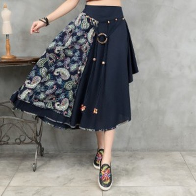 新品 レディース スカート チャイナ風 ゆったり 民族風 刺繍 花柄スカート ナチュラル エスニックリネン 復古風スカート 写真撮影 演出服