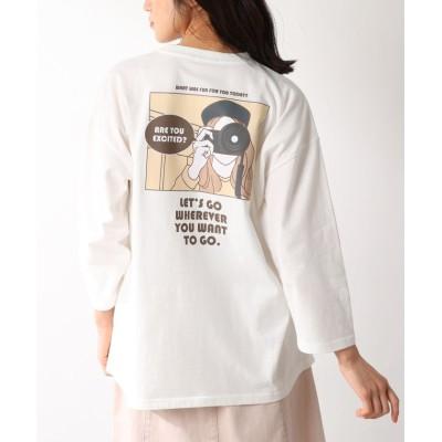 (Honeys/ハニーズ)イラストプリントTシャツ/レディース ホワイト