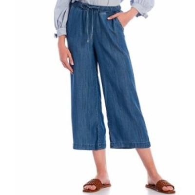 カルバンクライン レディース カジュアルパンツ ボトムス Twill Tencel Drawcord Pull-On Wide Leg Capri Pants Indigo