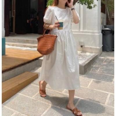 2色ワンピース ロング パンチングレース フレア 背中見せ 半袖 ゆったり セクシー 大人可愛い 韓国 オルチャン ファッション