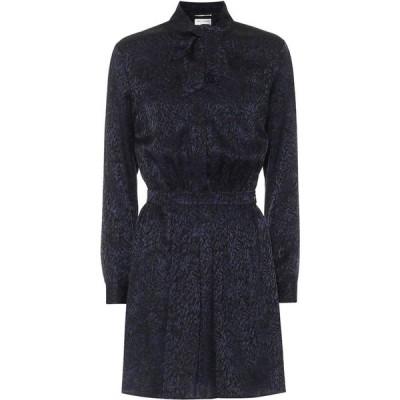 イヴ サンローラン Saint Laurent レディース パーティードレス ワンピース・ドレス jacquard silk minidress Navy Black