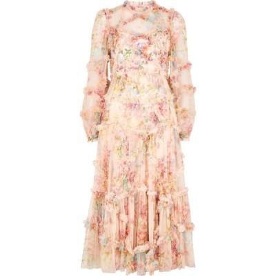 ニードル アンド スレッド Needle & Thread レディース パーティードレス ミドル丈 Floral Diamond ruffle-trimmed tulle midi dress Pink