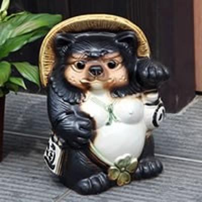 シーサー狸 メス たぬき 置物 名入れ  縁起物 信楽焼 おしゃれ 和風 陶器 【手作り】