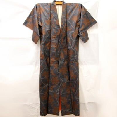 美品『USED』袷 紺×茶色 植物柄 着物  和装 和服 大島