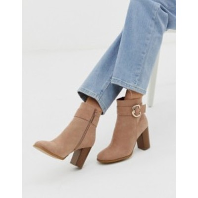 エイソス レディース ブーツ・レインブーツ シューズ ASOS DESIGN Relay heeled ankle boots in taupe Taupe