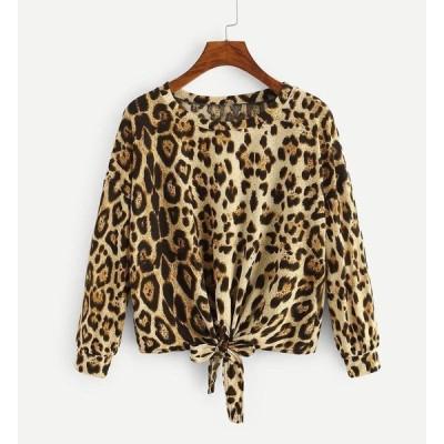 Tシャツ 裾リボン ヒョウ柄 前結び アニマル 動物柄 長袖 ラウンド襟 ドロップショルダー レディース トップス