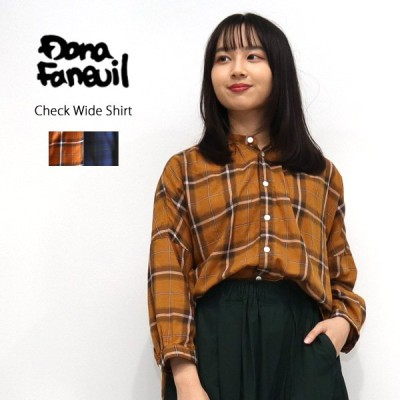 ダナファヌル Dana Faneuil チェックワイドシャツ D6320306 レディース 秋冬 ブラウス ワイド ゆったり 七分袖