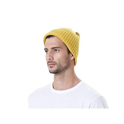 WITHMOONS Knitted Ribbed Beanie Hat Basic Plain Solid Watch Cap AC5846 (Yel