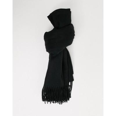 エイソス レディース マフラー・ストール・スカーフ アクセサリー ASOS DESIGN oversized wool mix scarf with fringe in black
