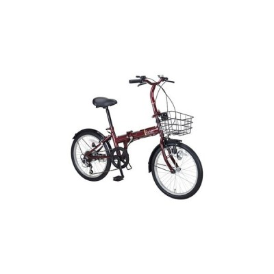 キャプテンスタッグ 折りたたみ自転車 20インチ 6段変速(ダークレッド) CAPTAIN STAG Racket(ラケット)FDB206 YG-0800 返品種別B