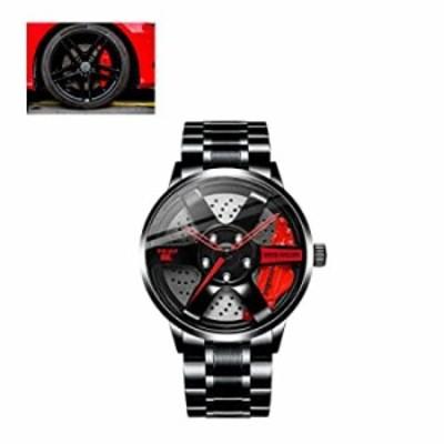 Car Rim Watches for Men Rim Watch, Waterproof Japanese Quartz Movement Car Enthusiast Watch for Men. (Red)