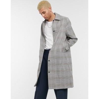 エイソス メンズ コート アウター ASOS DESIGN oversized trench coat in check with poppers Black